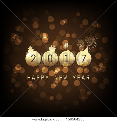 Best Wishes - Gold Abstract Modern Style Happy New Year Greeting Card, Cover or Background, Creative Design Template - 2017