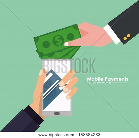 hand holds smartphone mobile payment money virtual vector illustration eps 10