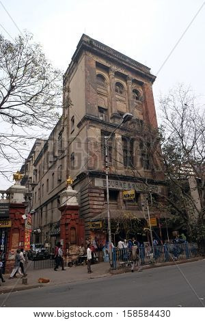 KOLKATA, INDIA - FEBRUARY 10: An aging, decaying, ex-colonial tenement block in Kolkata, India on February 10, 2016.