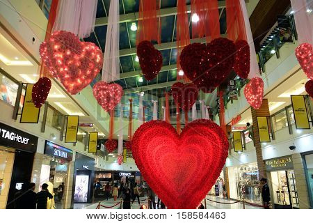 DELHI, INDIA - FEBRUARY 12 : Valentine's Day in Select citywalk in Saket Delhi, one of the most popular shopping destinations in Delhi, India on February 12, 2016.