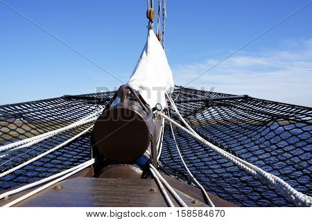 Bowsprit with Safety Net on a Tall Sailing Ship