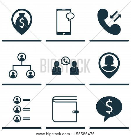Set Of Management Icons On Wallet, Business Deal And Job Applicants Topics. Editable Vector Illustration. Includes Chat, Wallet, Cellular And More Vector Icons.