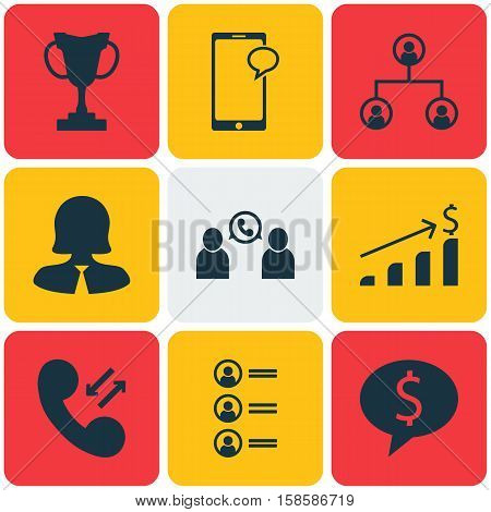 Set Of Hr Icons On Cellular Data, Tree Structure And Job Applicants Topics. Editable Vector Illustration. Includes Trophy, Organisation, Female And More Vector Icons.