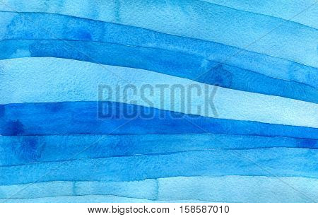 Abstract blue watercolor background, hand painted texture with imposition of transparent shapes
