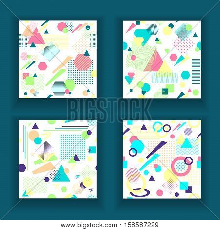 Set  Abstract seamless pattern from geometric form in postmodern Memphis Style on white background for wallpaper or package or for clothes for decoration childish school subject or for creative design