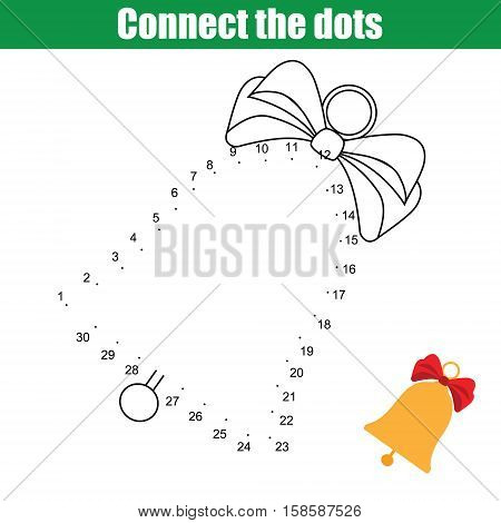 Connect the dots children educational drawing game. Dot to dot by numbers game for kids. Christmas, winter holidays theme. Printable worksheet activity with christmas bell