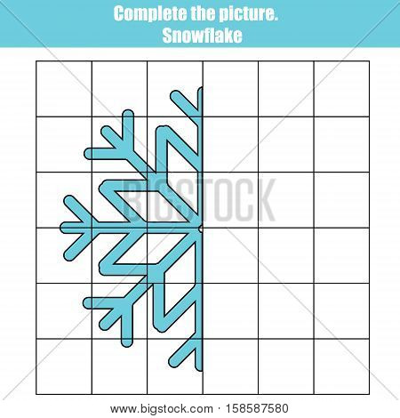 Grid copy game, complete the picture educational children game. Printable kids activity sheet with snowflake. Learning Symmetry drawing