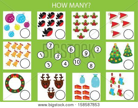 Counting educational children game, kids activity worksheet. How many objects task, christmas, winter holidays theme. Learning mathematics, numbers, addition theme