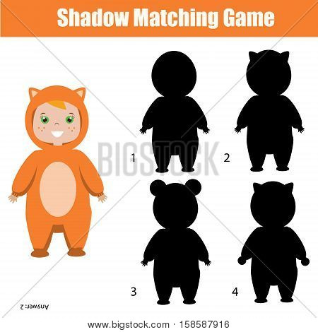 Shadow matching game for children. Find the right, correct shadow for kids preschool and school age. Printable worksheet, Christmas theme