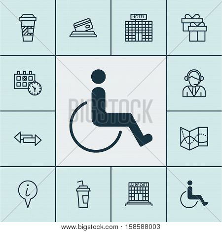 Set Of Travel Icons On Hotel Construction, Present And Crossroad Topics. Editable Vector Illustration. Includes Credit, Center, Disabled And More Vector Icons.