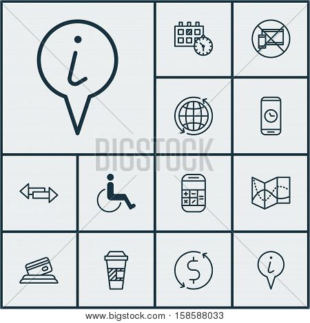 Set Of Airport Icons On Info Pointer, Appointment And Crossroad Topics. Editable Vector Illustration. Includes Map, No, Calculation And More Vector Icons.