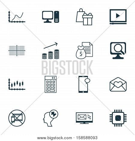 Set Of 16 Universal Editable Icons. Can Be Used For Web, Mobile And App Design. Includes Icons Such As Investment, Square Diagram, Desktop Computer And More.