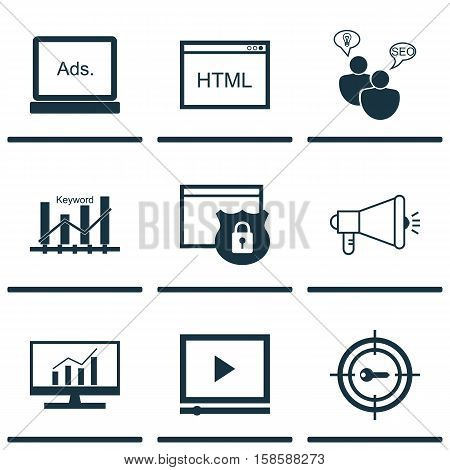 Set Of Advertising Icons On Video Player, Security And Coding Topics. Editable Vector Illustration. Includes Keyword, Optimization, Comprehensive And More Vector Icons.