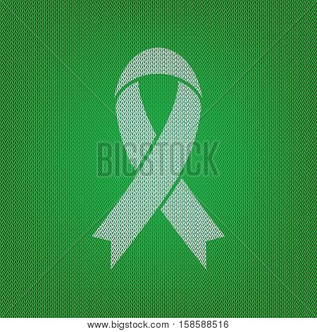 Black Awareness Ribbon Sign. White Icon On The Green Knitwear Or