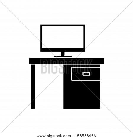 silhouette black pc desk office drawers icon vector illustration eps 10