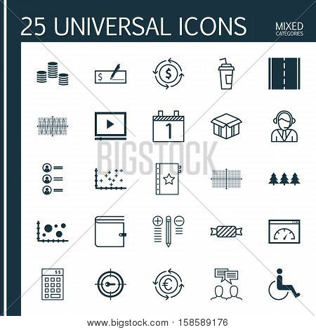 Set Of 25 Universal Editable Icons. Can Be Used For Web, Mobile And App Design. Includes Icons Such As Holiday Ornament, Warranty, Photo Camera And More.