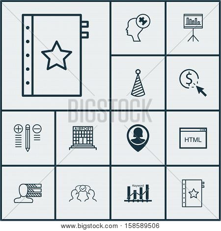 Set Of 12 Universal Editable Icons. Can Be Used For Web, Mobile And App Design. Includes Icons Such As Birthday Hat, Cooperation, Keyword Optimisation And More.