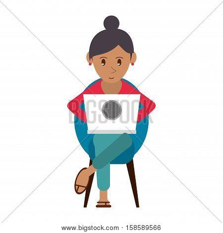 beutiful girl using laptop sitting vector illustration eps 10