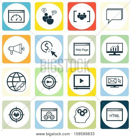 Set Of Advertising Icons On Coding, Website Performance And Website Topics. Editable Vector Illustration. Includes Website, Bulding, Per And More Vector Icons.