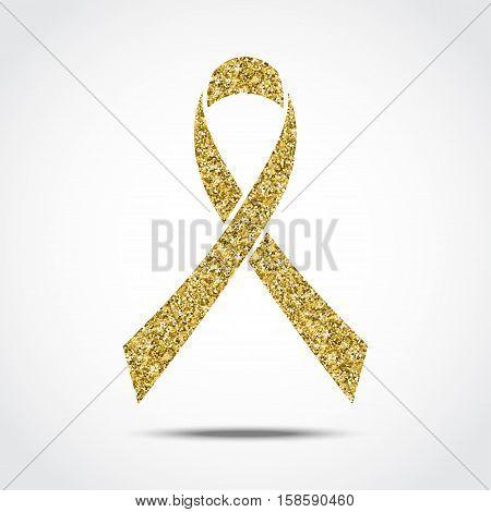 Gold glitter awareness ribbon. Symbol of Childhood Cancer Day in February 15. Vector illustration.