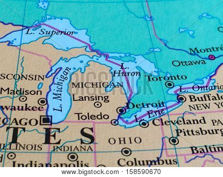 State of Michigan and Great Lakes on a Map