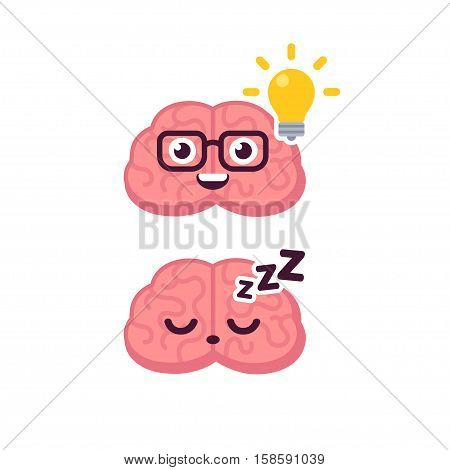 Cute brain character illustration. Sleeping and lightbulb idea concept. Cartoon vector icon.