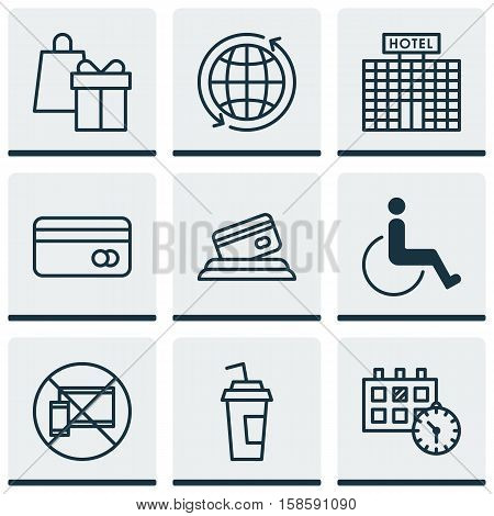 Set Of Transportation Icons On Accessibility, Plastic Card And World Topics. Editable Vector Illustration. Includes Shopping, Date, Payment And More Vector Icons.