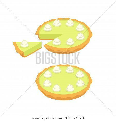 Key lime pie whole and slice. Traditional Southern American dessert. Vector illustration.