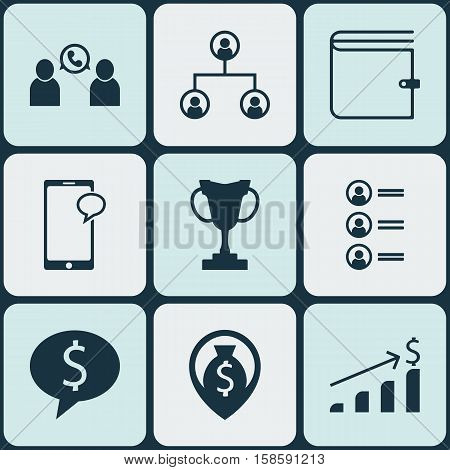 Set Of Hr Icons On Tree Structure, Money Navigation And Job Applicants Topics. Editable Vector Illustration. Includes Purse, Conference, Mobile And More Vector Icons.
