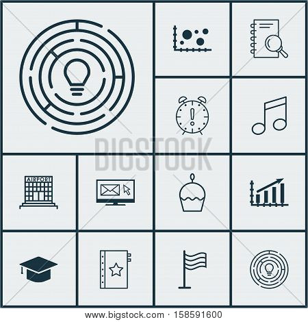 Set Of 12 Universal Editable Icons. Can Be Used For Web, Mobile And App Design. Includes Icons Such As Birthday Cake, Pin, Crotchets And More.