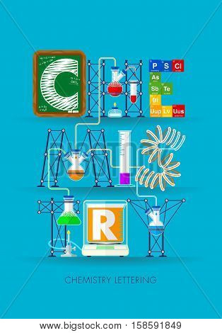 Chemistry lettering formed by an experiment with test tubes, symbols of the elements of the periodic table, a blackboard and a scale in blue background - Vector image
