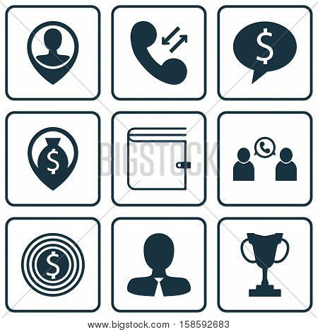 Set Of Management Icons On Manager, Business Deal And Employee Location Topics. Editable Vector Illustration. Includes Prize, Money, Employee And More Vector Icons.