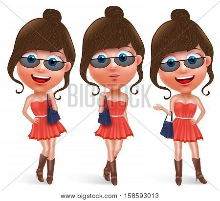 Fashion teen female vector character holding hand bag wearing fashionable skirt dress and boots with sunglasses with pose like model and smiling in white background. Vector characters set.