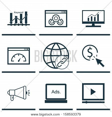 Set Of Advertising Icons On Connectivity, Media Campaign And PPC Topics. Editable Vector Illustration. Includes Optimization, Pay, Click And More Vector Icons.