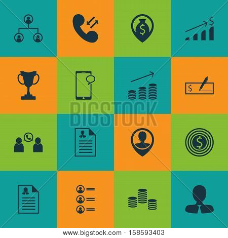 Set Of Management Icons On Curriculum Vitae, Business Goal And Tournament Topics. Editable Vector Illustration. Includes Organisation, Cash, Coins And More Vector Icons.