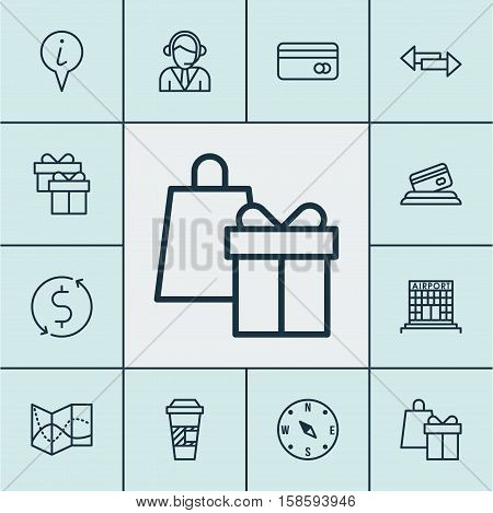 Set Of Airport Icons On Shopping, Locate And Present Topics. Editable Vector Illustration. Includes Payment, Box, Debit And More Vector Icons.