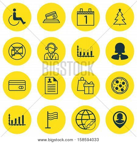 Set Of 16 Universal Editable Icons. Can Be Used For Web, Mobile And App Design. Includes Icons Such As Agenda, Pizza Meal, Dynamics And More.