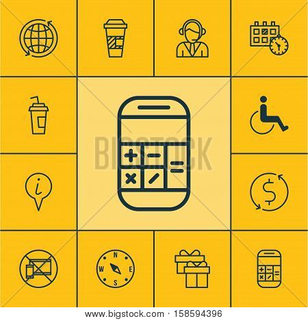 Set Of Airport Icons On Calculation, Drink Cup And Takeaway Coffee Topics. Editable Vector Illustration. Includes Exchange, Call, Paralyzed And More Vector Icons.
