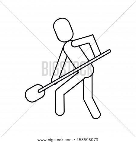 man shovel digging work construction outline vector illustration eps 10