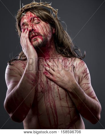 Gospel, Jesus christ, jesus of nazareth with the crown of thorns and blood for his body as penance before the crucifixion