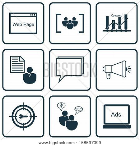 Set Of SEO Icons On Keyword Optimisation, Conference And Media Campaign Topics. Editable Vector Illustration. Includes SEO, Keyword, Focus And More Vector Icons.