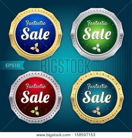 Set of retro promotion discount sale and guarantee tag banner label badge sticker