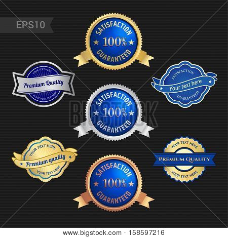 Set of satisfaction guarantee and premium quality emblem or badge with award ribbon