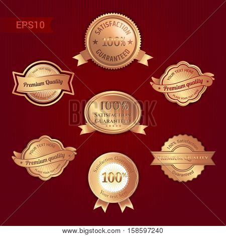 Set of satisfaction guarantee and premium quality emblem or badge with award ribbon in bronze tone