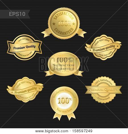 Set of satisfaction guarantee and premium quality emblem or badge with award ribbon in gold color tone