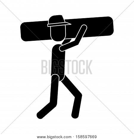 worker contruction carries material graphic pictogram vector illustration eps 10