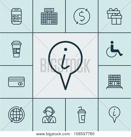 Set Of Travel Icons On Present, Takeaway Coffee And Calculation Topics. Editable Vector Illustration. Includes Office, Paralyzed, Coffee And More Vector Icons.