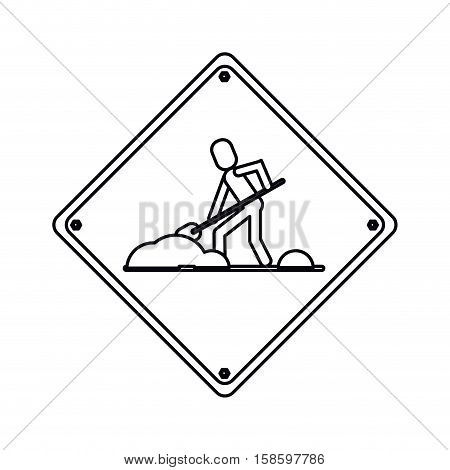 warning under construction repair sign outline vetor illustration eps 10