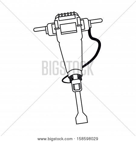 jackhammer construction tool design outline vector illustration eps 10
