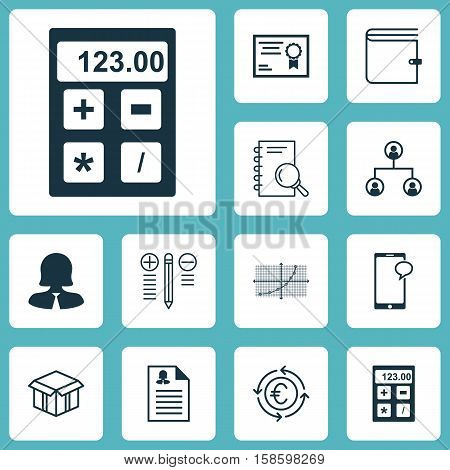 Set Of 12 Universal Editable Icons. Can Be Used For Web, Mobile And App Design. Includes Icons Such As Wallet, Female Application, Open Cardboard And More.